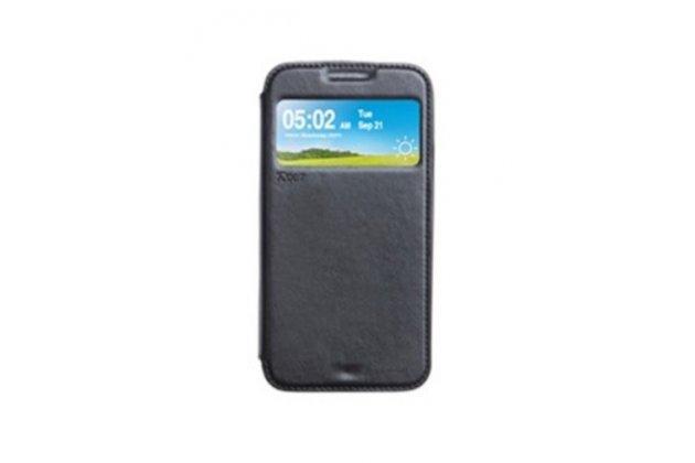 """Фирменный оригинальный чехол-книжка для LG K8 K350N/ K350E 5.0"""" черный кожаный с окошком для входящих вызовов"""