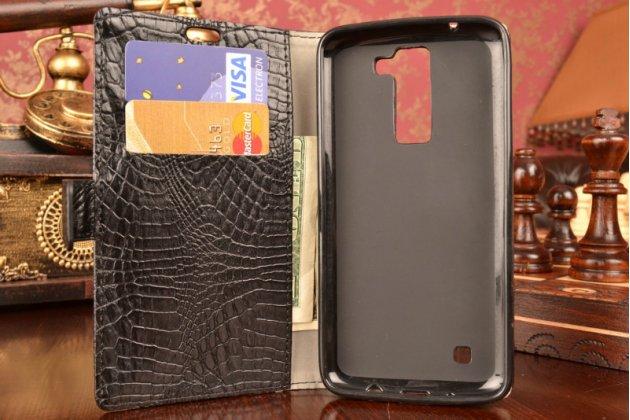 """Чехол-книжка для LG K8 K350N/ K350E 5.0"""" кожа крокодила Темно-серый"""