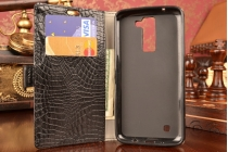 "Чехол-книжка для LG K8 K350N/ K350E 5.0"" кожа крокодила черный"