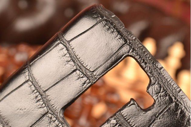 Фирменная неповторимая экзотическая панель-крышка обтянутая кожей крокодила для  LG K8 K350N черная