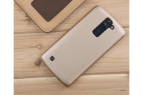 """Фирменная задняя панель-крышка-накладка из тончайшего и прочного пластика для LG K8 K350N/ K350E 5.0"""" золотая"""