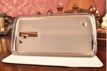Фирменный чехол-книжка для LG K8 K350N/ K350E синий с золотой полосой водоотталкивающий