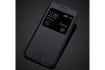 """Фирменный оригинальный чехол-книжка для LG K8 K350N/ K350E 5.0"""" черный с окошком для входящих вызовов водоотталкивающий"""