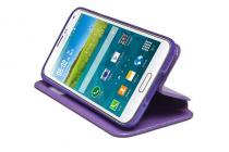 """Фирменный оригинальный чехол-книжка для LG K8 K350N/ K350E 5.0"""" фиолетовый кожаный с окошком для входящих вызовов"""