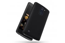 """Фирменная задняя панель-крышка-накладка из тончайшего и прочного пластика для LG K8 K350N/ K350E 5.0"""" черная"""