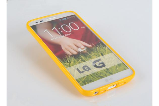 """Фирменная ультра-тонкая полимерная из глянцевого блестящего """"мармеладного"""" силикона задняя панель-чехол-накладка для LG K8 K350N/ K350E 5.0"""" желтая"""