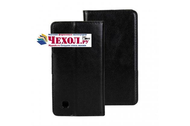 Фирменный чехол-книжка для LG L50 D221 с визитницей и мультиподставкой черный кожаный