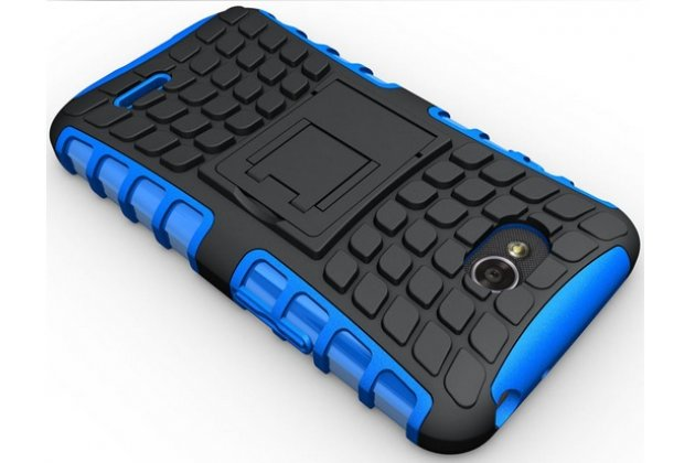 Противоударный усиленный ударопрочный фирменный чехол-бампер-пенал для LG L90 D410 синий