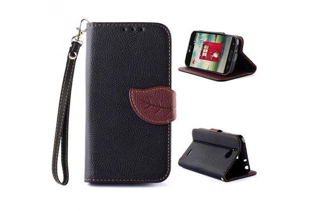Фирменный чехол-книжка из качественной импортной кожи с подставкой декорированной застёжкой-листок и визитницей для LG L90 D410 / D405 черный