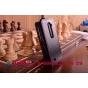 Фирменный оригинальный вертикальный откидной чехол-флип для LG Leon H324 черный кожаный