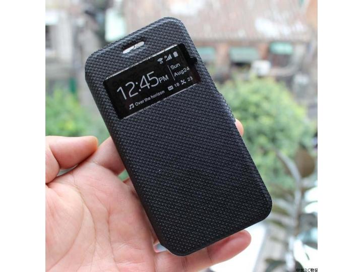 Фирменный чехол-книжка для LG Magna H502 черный с окошком для входящих вызовов водоотталкивающий..