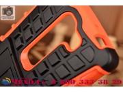 Противоударный усиленный ударопрочный фирменный чехол-бампер-пенал для LG Magna H502 оранжевый..