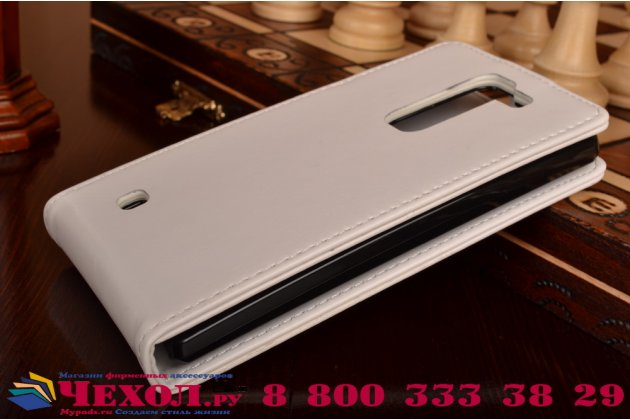 Фирменный оригинальный вертикальный откидной чехол-флип для LG Magna H502 белый кожаный