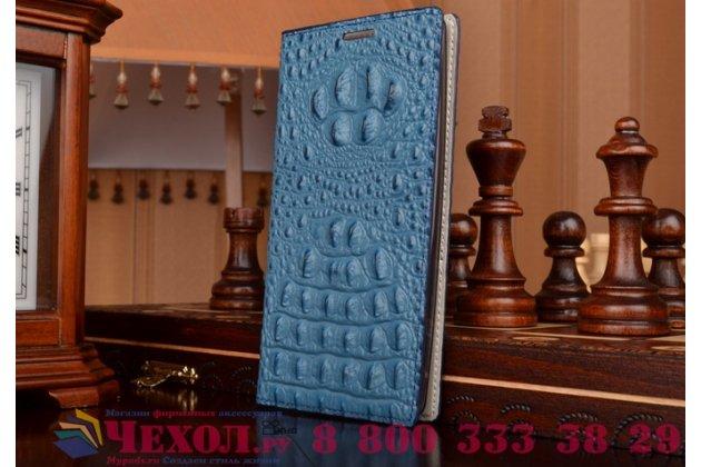 Фирменный роскошный эксклюзивный чехол с объёмным 3D изображением рельефа кожи крокодила синий для LG Magna H502 / LG G4c H525N . Только в нашем магазине. Количество ограничено