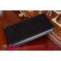 Фирменный оригинальный вертикальный откидной чехол-флип для LG Magna H502 черный кожаный