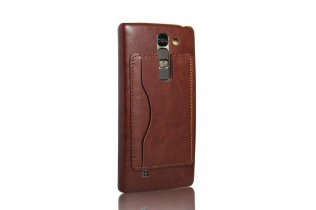 Фирменная роскошная элитная премиальная задняя панель-крышка для LG Magna / G4C из качественной кожи буйвола с визитницей коричневая