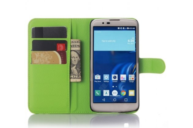 """Фирменный чехол-книжка из качественной импортной кожи с подставкой застёжкой и визитницей для Лджи Рэй / Лджи Зоне / LG Ray / LG Zone X190 5.5""""   зеленый"""
