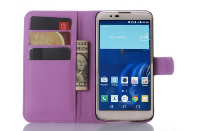 """Фирменный чехол-книжка из качественной импортной кожи с подставкой застёжкой и визитницей для Лджи Рэй / Лджи Зоне / LG Ray / LG Zone X190 5.5""""   фиолетовый"""