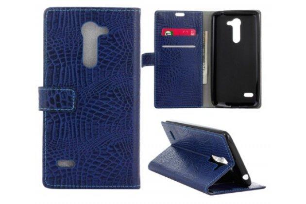 """Фирменный чехол-книжка с подставкой для  LG Ray / LG Zone X190 5.5""""  лаковая кожа крокодила фиолетовый"""