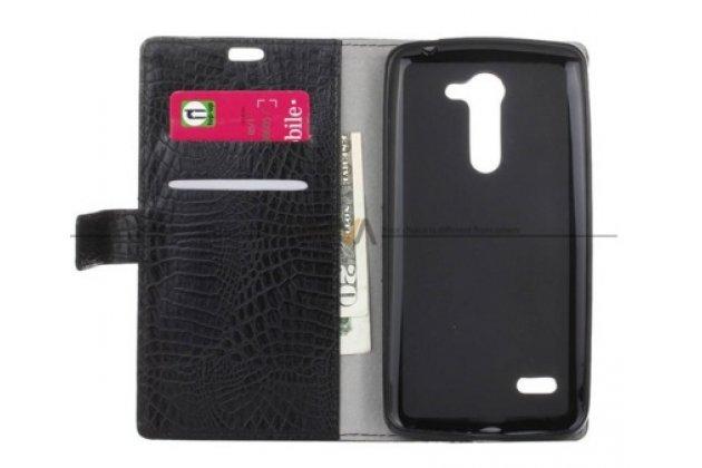 """Фирменный чехол-книжка с подставкой для  LG Ray / LG Zone X190 5.5""""  лаковая кожа крокодила черный"""