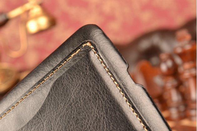 """Фирменная роскошная элитная премиальная задняя панель-крышка для LG Ray / LG Zone X190 5.5""""  из качественной кожи буйвола с визитницей черная"""