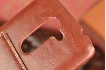 """Фирменная роскошная элитная премиальная задняя панель-крышка для  LG Ray / LG Zone X190 5.5""""   из качественной кожи буйвола с визитницей коричневая"""