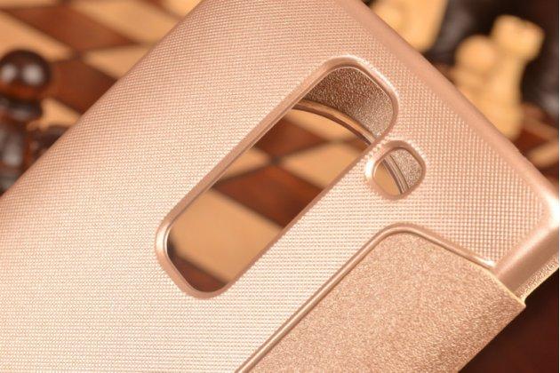 Фирменный оригинальный чехол-книжка для LG Spirit H422/ H440Y шампань золотой с окошком для входящих вызовов водоотталкивающий