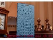 Фирменный роскошный эксклюзивный чехол с объёмным 3D изображением рельефа кожи крокодила синий для LG Spirit H..