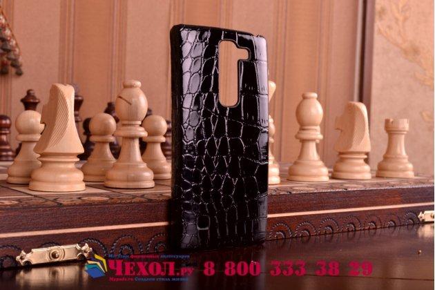 Элитная задняя панель-крышка премиум-класса из тончайшего и прочного пластика обтянутого кожей крокодила для LG Spirit H422/ H440Y брутальный черный