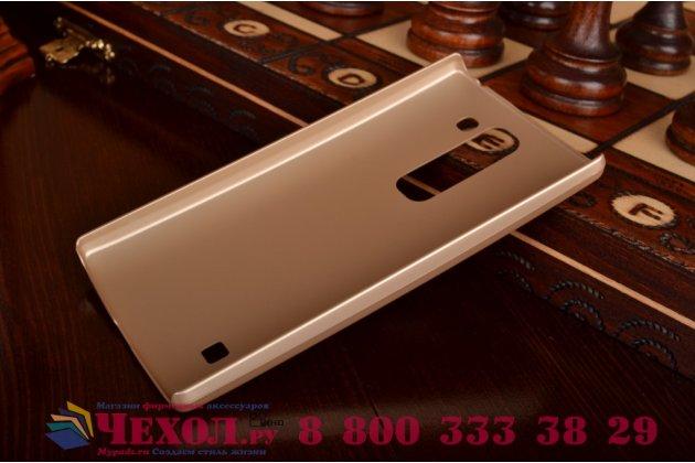 Фирменная задняя панель-крышка-накладка из тончайшего и прочного пластика для LG Spirit H422/ H440Y золотая
