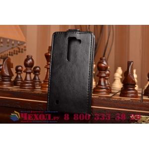 Фирменный оригинальный вертикальный откидной чехол-флип для LG Spirit H422/ H440Y черный кожаный