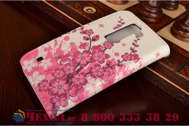 """Фирменный уникальный необычный чехол-книжка для LG Spirit H422/ H440Y """"тематика цветок Сакуры"""""""