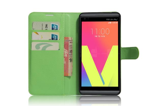 """Фирменный чехол бизнес класса для LG V20 5.7"""" с визитницей и держателем для руки зеленый натуральная кожа """"Prestige"""" Италия"""