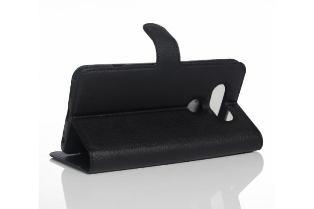 """Фирменный чехол-книжка для LG V20 5.7"""" с визитницей и мультиподставкой черный кожаный"""
