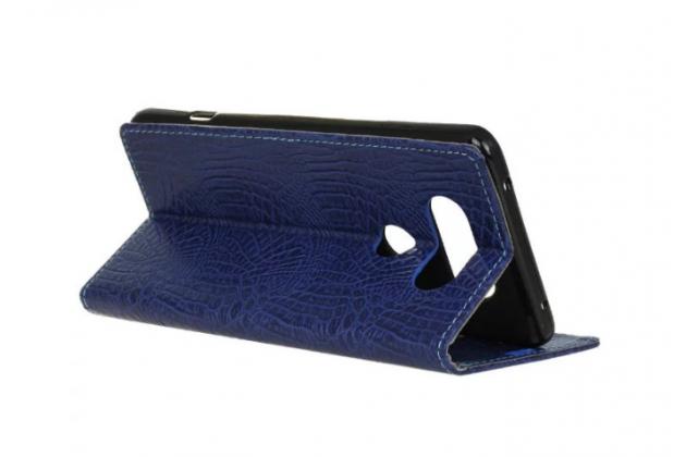 """Фирменный чехол-книжка с подставкой для LG V20 5.7""""  лаковая кожа крокодила синий"""