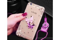 """Фирменная задняя панель-чехол-накладка из прозрачного 3D силикона с объёмным рисунком для LG X Power K220DS 5.3"""" тематика """"Бабочки"""" которая огибает логотип чтобы была видна марка телефона"""
