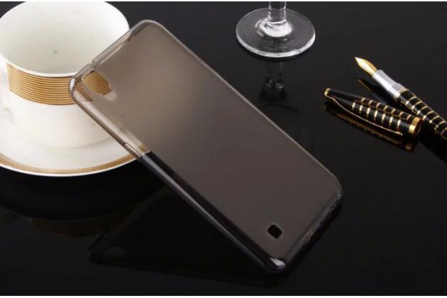 """Фирменная ультра-тонкая силиконовая задняя панель-чехол-накладка для LG X Power K220DS 5.3"""" серая"""