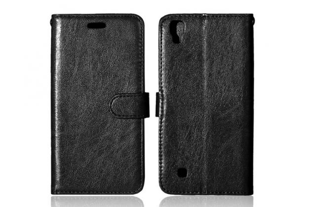 """Фирменный чехол-книжка для LG X Power K220DS 5.3"""" с визитницей и мультиподставкой черный кожаный"""
