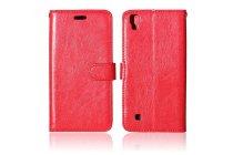 """Фирменный чехол-книжка для LG X Power K220DS 5.3"""" с визитницей и мультиподставкой красный кожаный"""