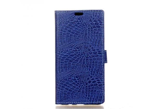 """Фирменный чехол-книжка с подставкой для LG X style K200DS / LG X Skin 5.0""""  лаковая кожа крокодила темно-синий"""