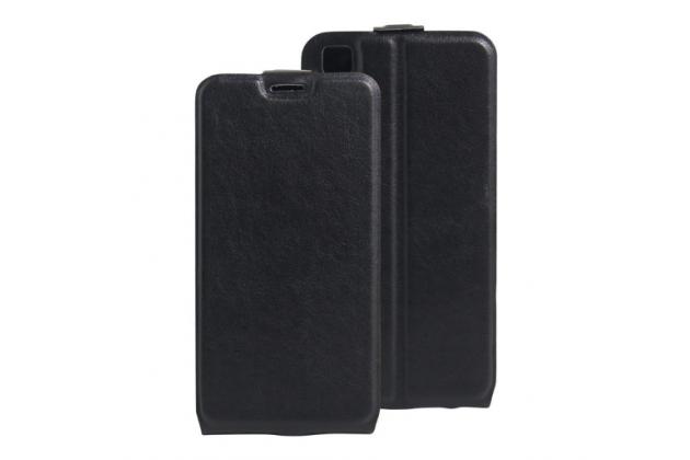 """Фирменный оригинальный вертикальный откидной чехол-флип для LG X Power K220DS 5.3"""" черный кожаный"""