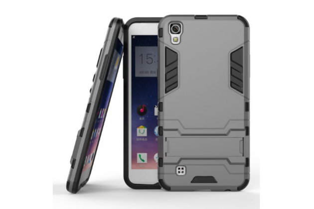 """Противоударный усиленный ударопрочный фирменный чехол-бампер-пенал для LG X Power K220DS 5.3"""" серый"""