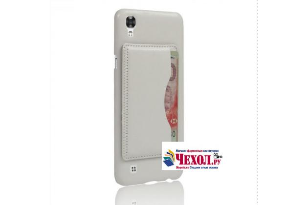 """Фирменная роскошная элитная премиальная задняя панель-крышка для LG X style K200DS / LG X Skin 5.0"""" из качественной кожи буйвола с визитницей белый"""