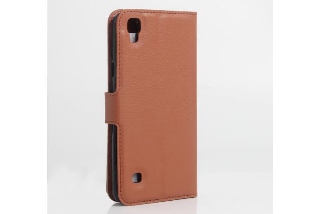 """Фирменный чехол-книжка для  LG X style K200DS / LG X Skin 5.0"""" с визитницей и мультиподставкой коричневый кожаный"""