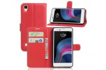 """Фирменный чехол-книжка для LG X style K200DS / LG X Skin 5.0"""" с визитницей и мультиподставкой красный кожаный"""