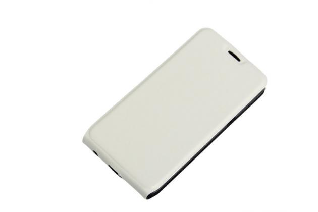 """Фирменный оригинальный вертикальный откидной чехол-флип для  LG X style K200DS / LG X Skin 5.0"""" белый кожаный"""