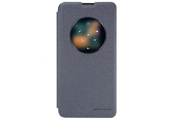 """Фирменный чехол-книжка для LG X View LGK500DS / X Screen K500Y 4.93"""" с функцией умного окна (фонарик, плеер, аналоговые часы) черный"""