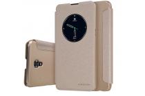 """Фирменный чехол-книжка для LG X View LGK500DS / X Screen K500Y 4.93"""" с функцией умного окна (фонарик, плеер, аналоговые часы) золотой"""