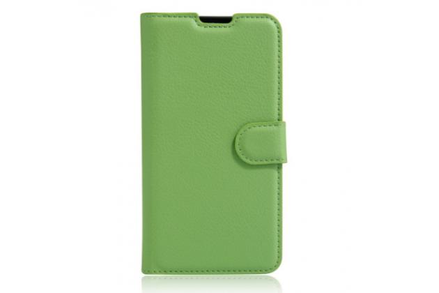 """Фирменный чехол-книжка из качественной импортной кожи с мульти-подставкой застёжкой и визитницей для LG X View LGK500DS / X Screen K500Y 4.93"""" зеленый"""