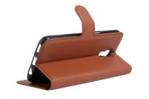 """Фирменный чехол-книжка из качественной импортной кожи с мульти-подставкой застёжкой и визитницей для LG X View LGK500DS / X Screen K500Y 4.93"""" коричневый"""